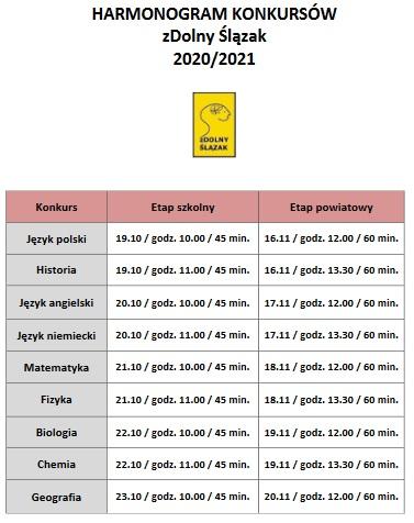 Zdjęcie harmonogramu konkursów zDolny Ślązak 2020/2021